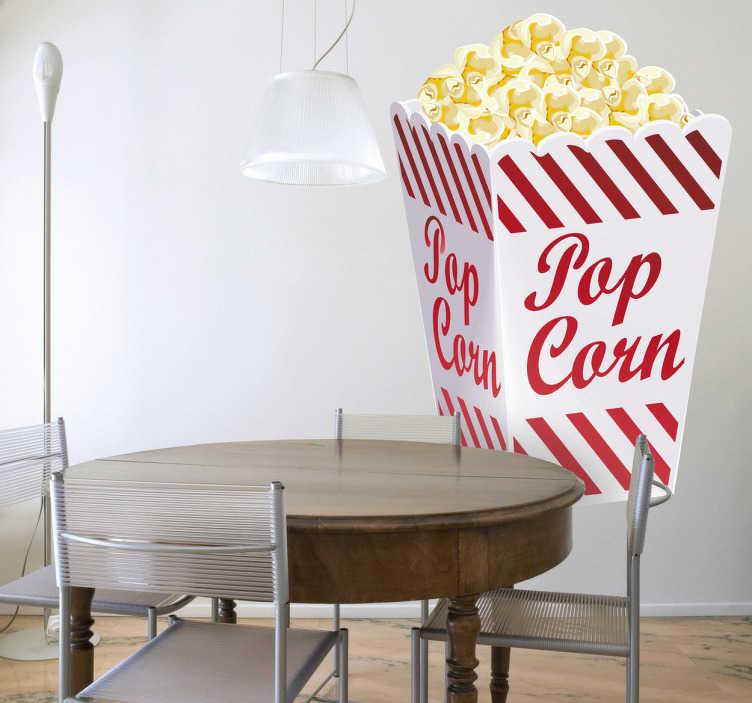 TenStickers. Sticker cuisine pop corn. Ajoutez de la gaieté à votre mobilier, vos murs ou vos appareils électroménagers avec ce stickers représentant une boîte pleine de pop corn.