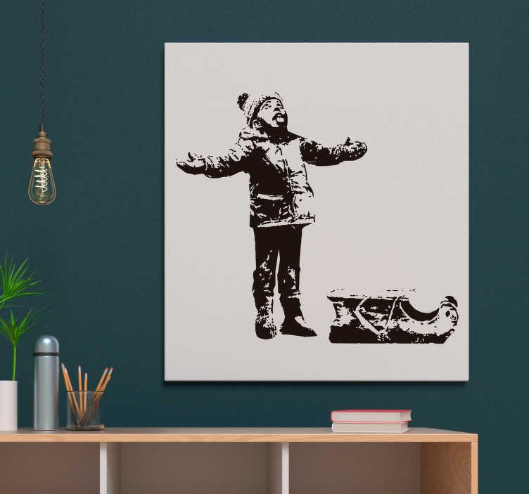 TenVinilo. Vinilo original Banksy niño en la nieve. Obra adhesiva de Banksy, en la cual aparece un niño chupando cenizas para representar la contaminación atmosférica. Atención al Cliente Personalizada.
