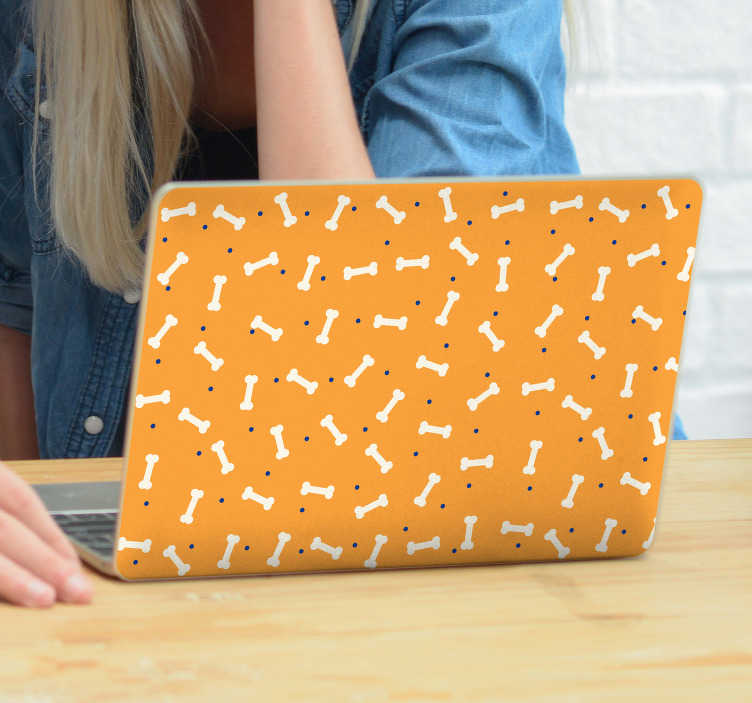 TenStickers. Cute bone pattern laptop skin decal. Laptop vinyl sticker with the design of dog bones.  The design is created to wrap the device in complete portion. Easy to apply.