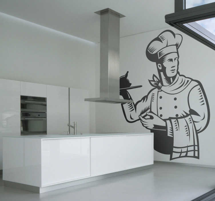TenStickers. Chef Chicken Tray Wall Sticker. Kitchen Wall Stickers-Original sticker from Tenstickers. Add a different touch to your kitchen with this design of a handsome chef