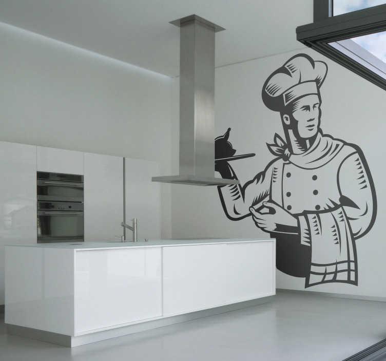TenVinilo. Vinilo chef con bandeja pollo. La cocina puede llegar a ser un rincón ideal para darle un toque distinto a la decoración, y con este bonito adhesivo de un cocinero.