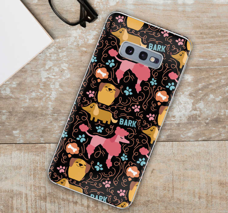 TenStickers. Dogs pattern (samsung) sticker. Decorative dog pattern vinyl sticker for Samsung phone. Buy it in the suitable size model for your phone. Easy to apply.