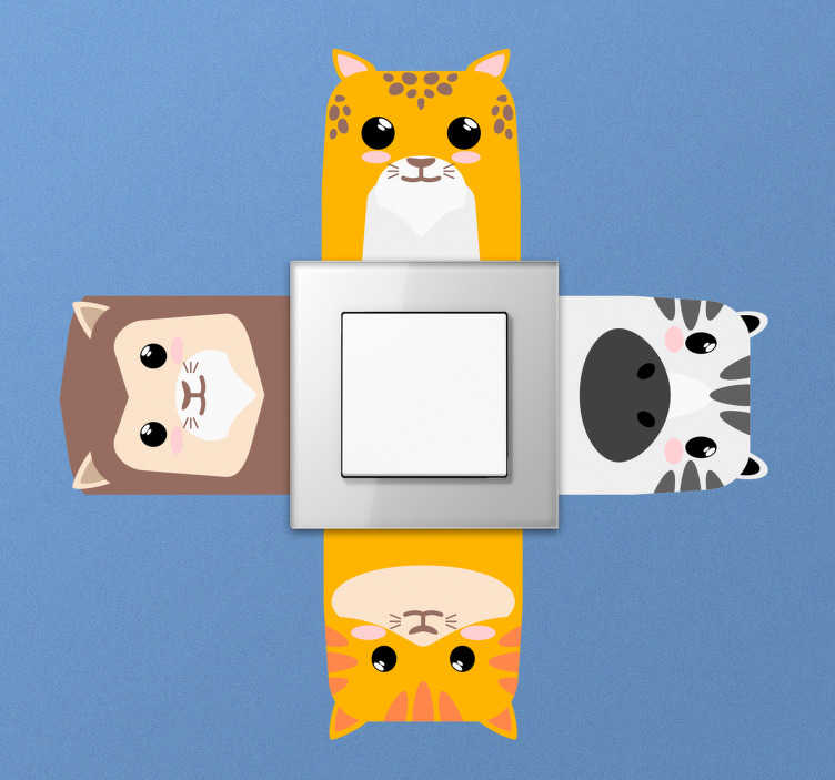 TenStickers. Set of animals light switch cover decal. Decorate the light switch surface with this funny looking cats in different colours. Choose it in the best suitable size for a space.