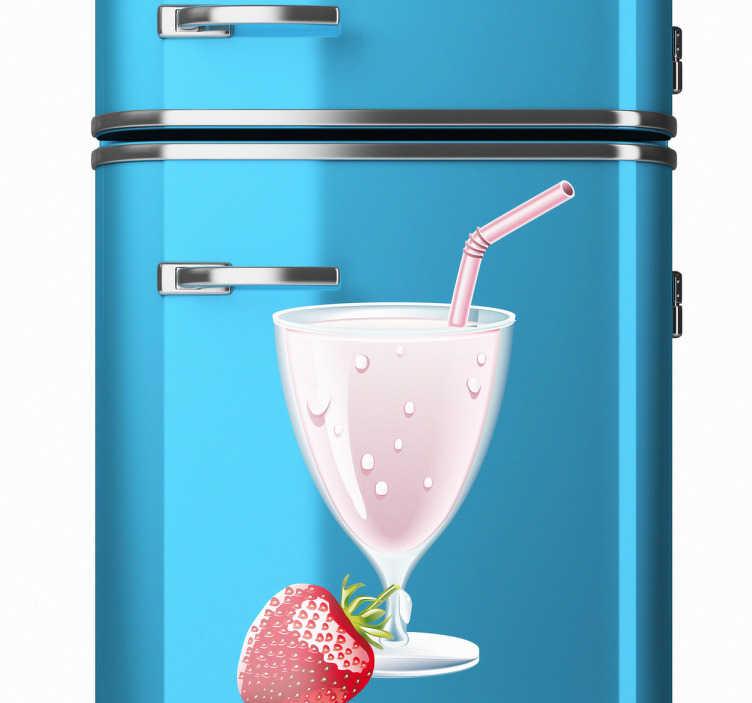 TenStickers. Sticker ijskast aardbei milkshake. Deze sticker voor de ijskast illustreert een verfrissende aardbeien milkshake. Ideaal ter decoratie voor fans van milkshakes.