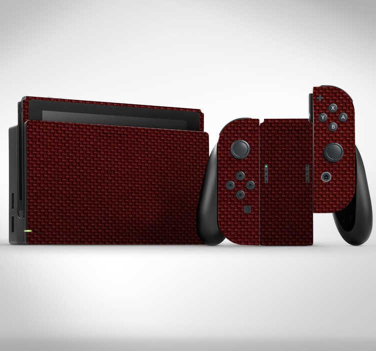 TenStickers. Peau de nintendo rouge texture carbone. Pellicule en vinyle nintendo 3ds xl pour décorer la surface d'une console de jeux. Facile à appliquer et peut être retiré sans problème.