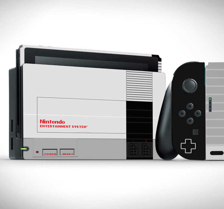TenStickers. Retro nes nintendo skin decal. Nintendo vinyl wrap sticker to wrap with the design of a movie theme text. Buy it in the size model for your video game console.