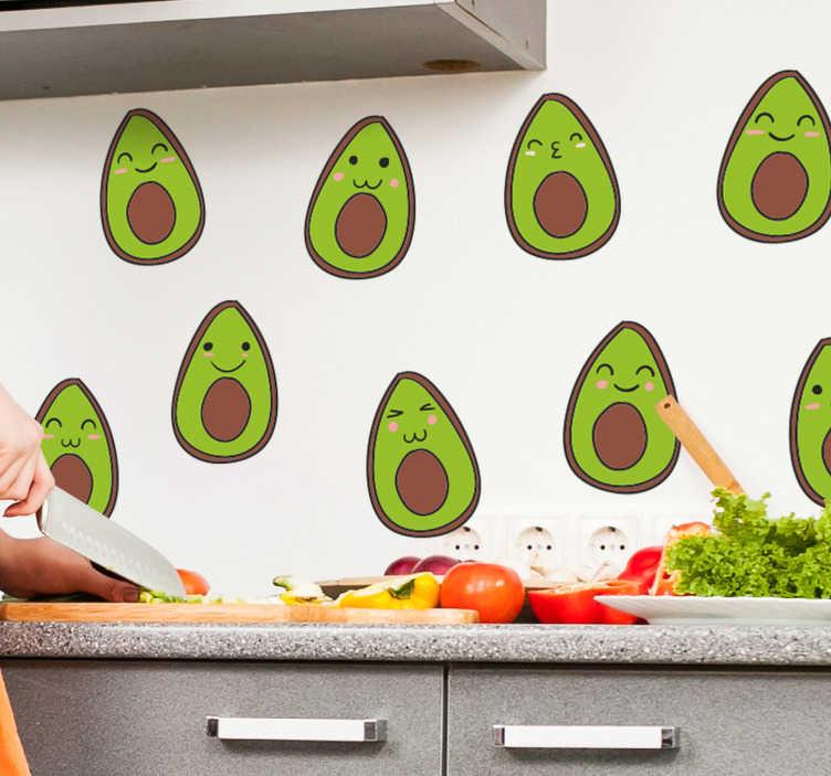 TenStickers. Sticker Fruit Avocats heureux. Cet autocollant gastronomie représente plusieurs dessins d'avocats avec un smiley content : de quoi apporter un peu de joie dans votre cuisine.