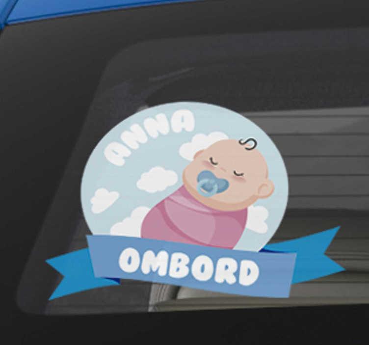 TenStickers. Personalizate bebe la bord autocolant. Un copil personalizat la bord auto autocolant, perfect pentru masina ta! Atașați o etichetă de avertizare împreună cu numele copilului dvs.! înscrieți-vă pentru o reducere de 10%.