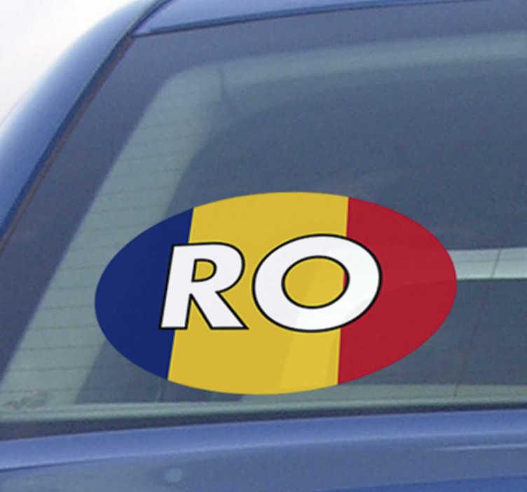 """TenStickers. Ro și autocolantul de pavilion românesc. O autocolantă extrem de folositoare de mașină de înaltă calitate, în formă ovală pentru autoturisme cu pavilion românesc și semnătura țării """"ro""""."""