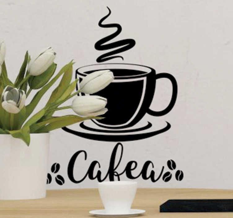 TenStickers. Ceașcă de autocolant pentru băuturi de cafea. O simplă ilustrare a colecției de autocolante pentru pereți de cafea pe care vă puteți bucura atunci când aveți în fiecare dimineață ceașcă de cafea acasă.