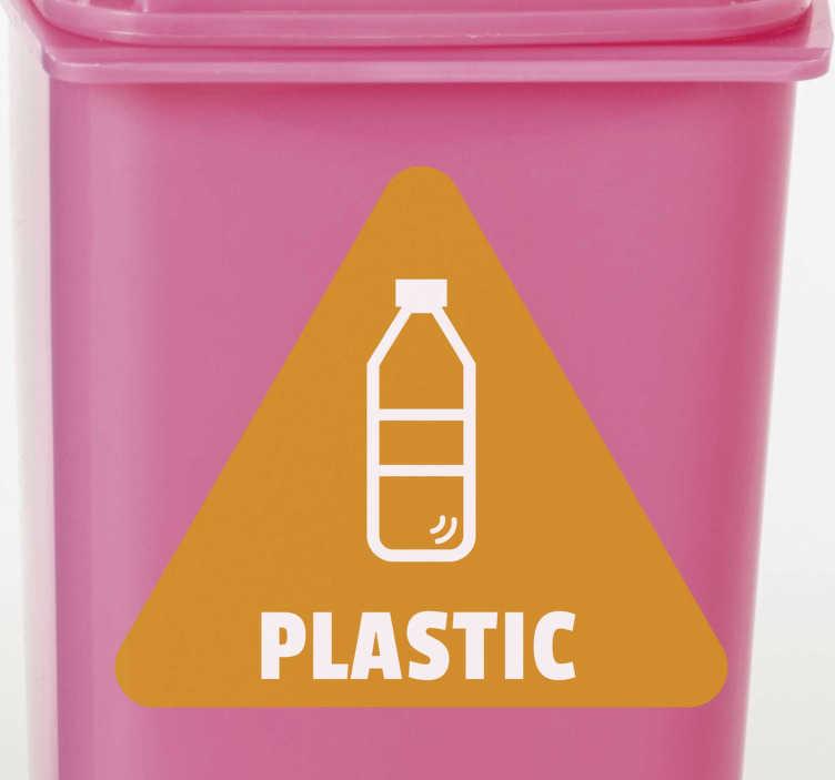 TenStickers. Sticla de plastic - semnul vinilului de reciclare. Autocolantul de reciclare a buteliilor de plastic este o necesitate pentru cei care au o valoare cu adevărat reciclată. Coșurile noastre pentru gunoi pentru reciclare ajută la salvarea energiei planetelor