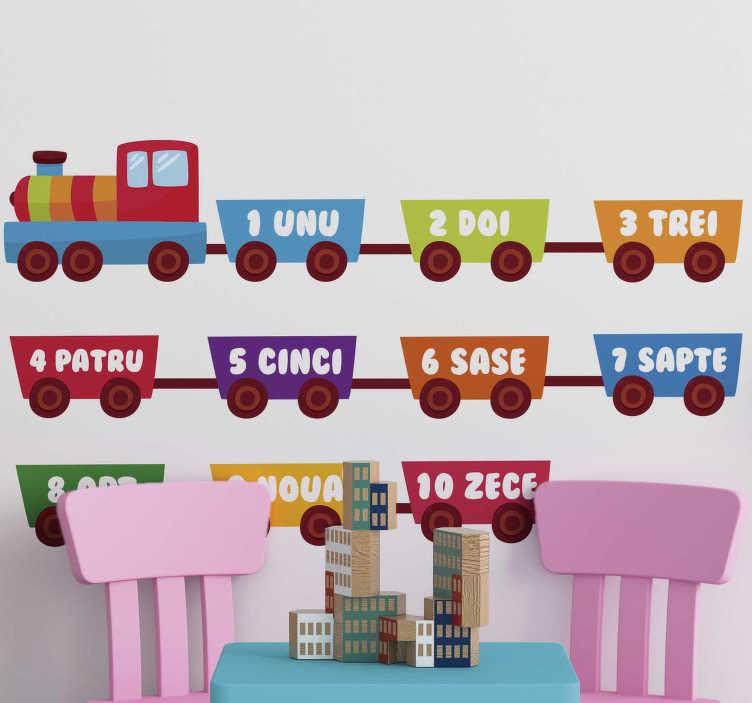 TenStickers. Tren cu numere de autocolant de perete educațional. O mare autocolantă de perete pentru a decora dormitorul sau grădina copilului tău! Perfect pentru crearea unui mediu amuzant pentru cei mici