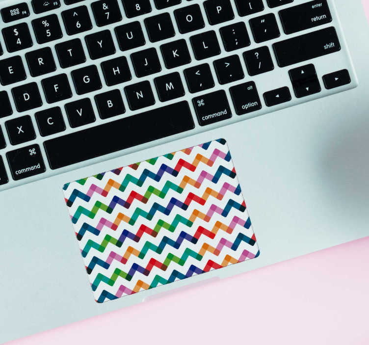 TenStickers. Laptop sticker zigzag streepjes. Interessante touchpad stickers met verschillende kleurtjes! Deze streepjes touchpad laptop sticker is een leuk idee voor laptop versiering.