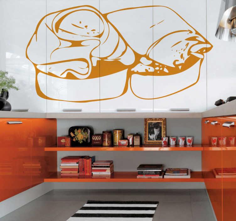 TenStickers. бушетта ветчина кухонная наклейка. стикеры стены кухни - иллюстрация воодушевленная от итальянской кухни. ломтик поджаренного хлеба с оливковым маслом и ветчиной.