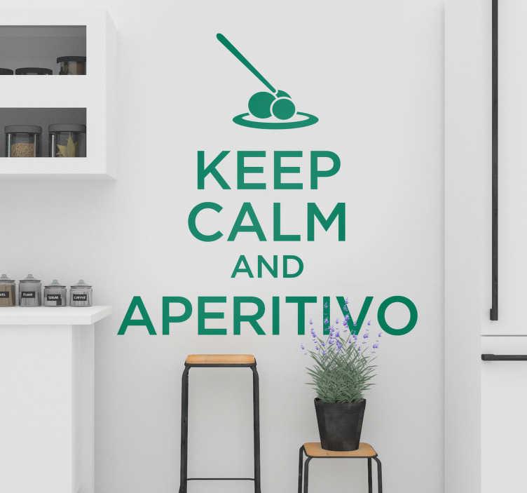 """TenStickers. Adesivo murale aperitivo frase. Chi non ama l'aperitivo? Celebralo con la nostra scritta murale adesiva che presenta la frase """"Keep calm and aperitivo""""!"""