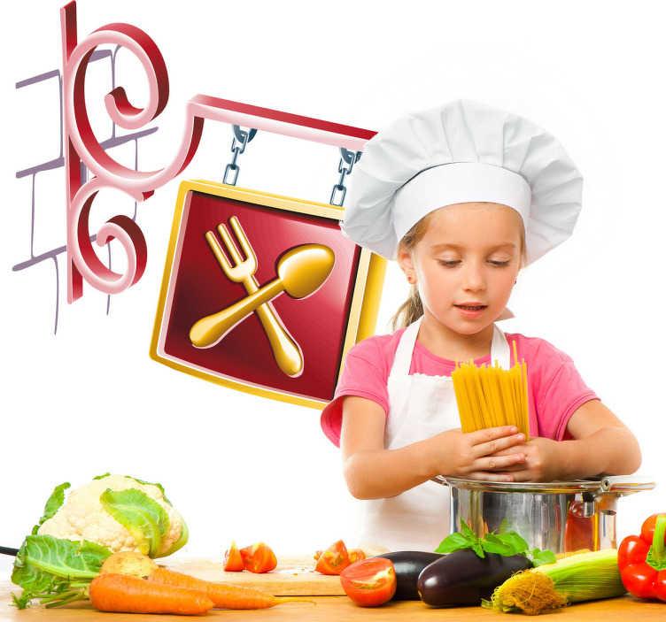 TenStickers. Sticker decorativo insegna ristorante. Adesivo murale che raffigura l'elegante insegna di un ristorante. Ideale per decorare in cucina.