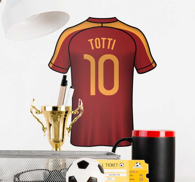 TenStickers. Adesivo murale Totti maglia. Sei un grande fan dei giallorossi e del Capitano? Allora applicaquesto adesivo murale calcio con la maglia di Totti ed il suo numero 10!
