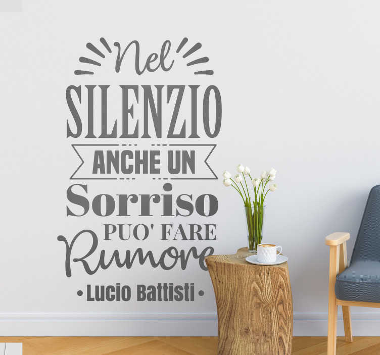 """TenStickers. Scritta adesiva per parete Lucio Battisti frase. Se sei un grande fan della musica di Lucio Battisti, decora il tuo muro con la scritta adesiva della sua canzone """"Nel Cuore, Nell'anima""""!"""