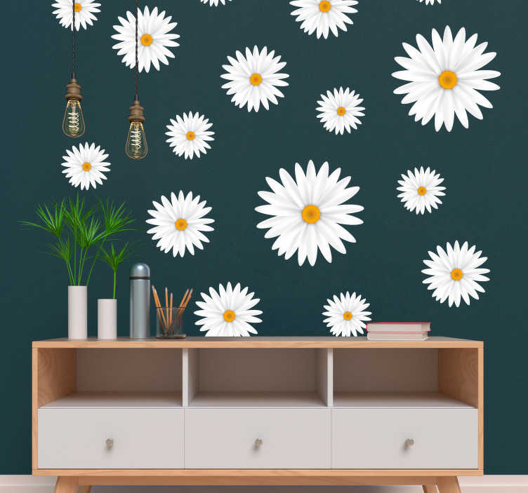 TenStickers. Pattern with daisies flower wall decal. Daisy flower wall art sticker to decorate any flat wall space in the home. Buy this set of daisy flowers in the best suitable size.