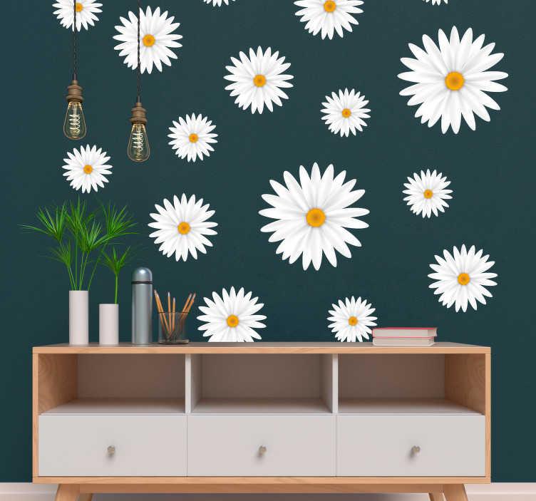 TenStickers. Białe stokrotki na ścianę do salonu. Stokrotki na ścianę jako naklejki kwiaty do salonu. Ozdoby na ścianę do salonu jako naklejki ścienne kwiaty to świetny pomysł na niezwykłe dekoracje.