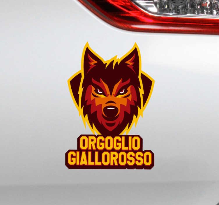 """TenStickers. Adesivo per auto Orgoglio Giallorosso. Anche te sei un fan sfegatato della Roma? Allora scopri il nostro adesivo auto, con la frase """"Orgoglio Giallorosso"""" e l'immagine di un leone."""