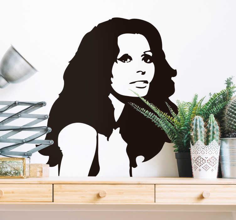 TenVinilo. Vinilo dormitorio Sophia Loren. Original pegatina adhesiva formada por un dibujo del retrato de la actriz italiana Sophia Loren. Descuentos para nuevos usuarios.