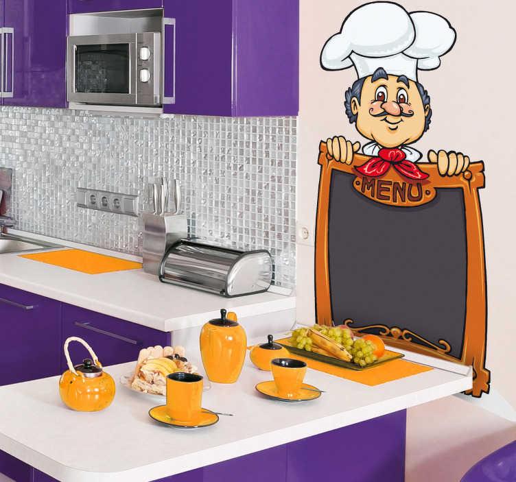 TenStickers. Stencil muro chef menù lavagna. Adesivo lavagna dedicato a coloro che desiderano decorare in maniera originale uno degli ambienti più importanti della casa.