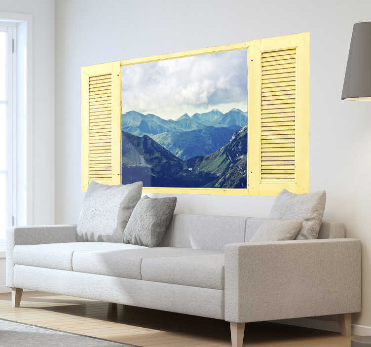 TenStickers. Trompe l'oeil mountains visual effects wall sticker. Visual effect wall decal with the design of mountain landscape with the sky.  Buy it the size that is suitable for a space.
