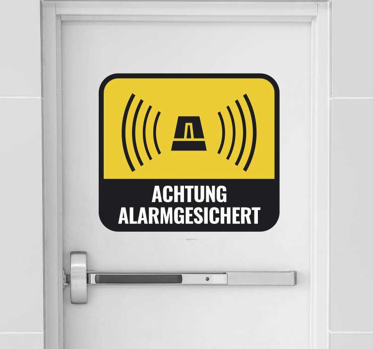 TenStickers. Text Aufkleber Achtung Alarmgesichert. Dieser Aufkleber eignet sich ideal um sich vor Einbrechern oder ungewollten Gästen zu schützen. Achtung Alarmgesichert!!