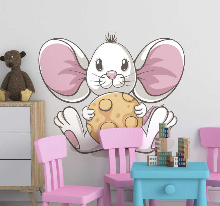 TenStickers. Mouse with cookie illustration wall art decal. Illustrative animal wall sticker for children with the design of  a big mouse. Buy it in the best size option for a space.