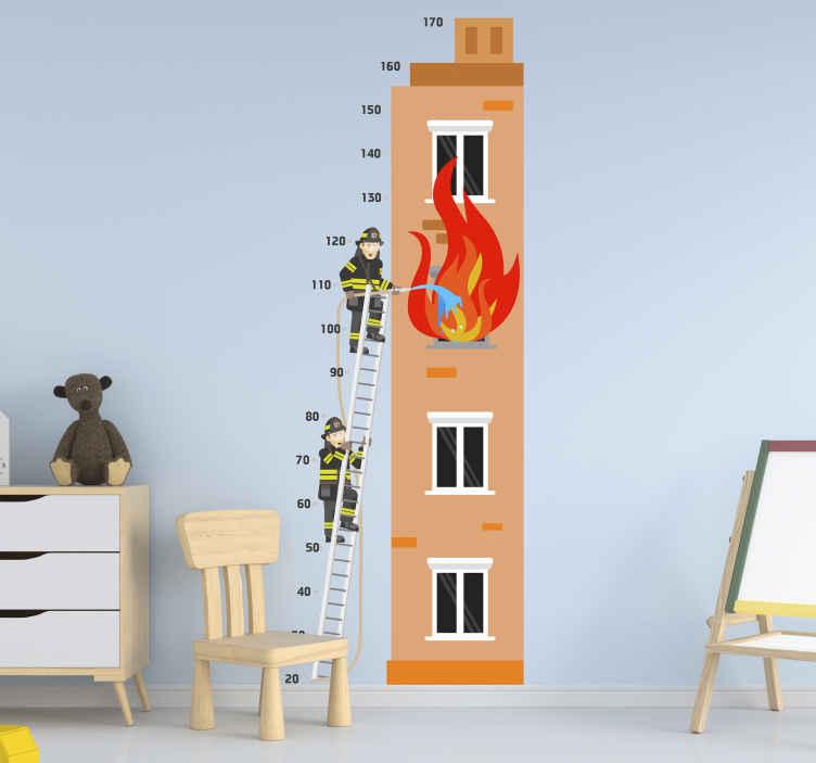 TenStickers. Sticker Chambre Enfant Toise Pompiers. Ce sticker déco chambre d'enfant reprèsente des pompiers en train d'éteindre courageusement un bâtiment en proie aux flammes.