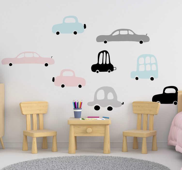 TenStickers. Naklejka na ścianę dla dzieci Zestaw samochodów. Samochody na ścianę do pokoju dziecięcego to wspaniały pomysł na naklejki na ścianę dla chłopca. Sprawdź naklejki samochodziki do pokoju dziecięcego.