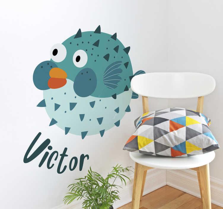 TenStickers. Sticker Chambre Enfant Poisson globe. Ce sticker animal marin représente un poisson globe de couleur bleu, en train de gonfler. Un design amusant pour la chambre d'enfant !