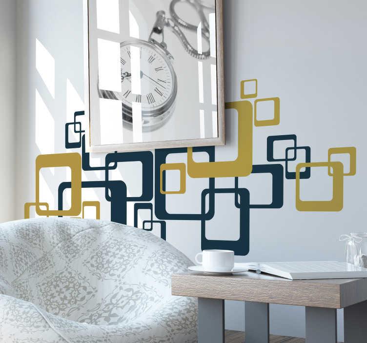 TenVinilo. Vinilo pared cuadrados retro. Composición de pegatinas en forma de cuadrados colocados uno encima de otro y combinando el azul con el verde. Vinilos Personalizados a medida.