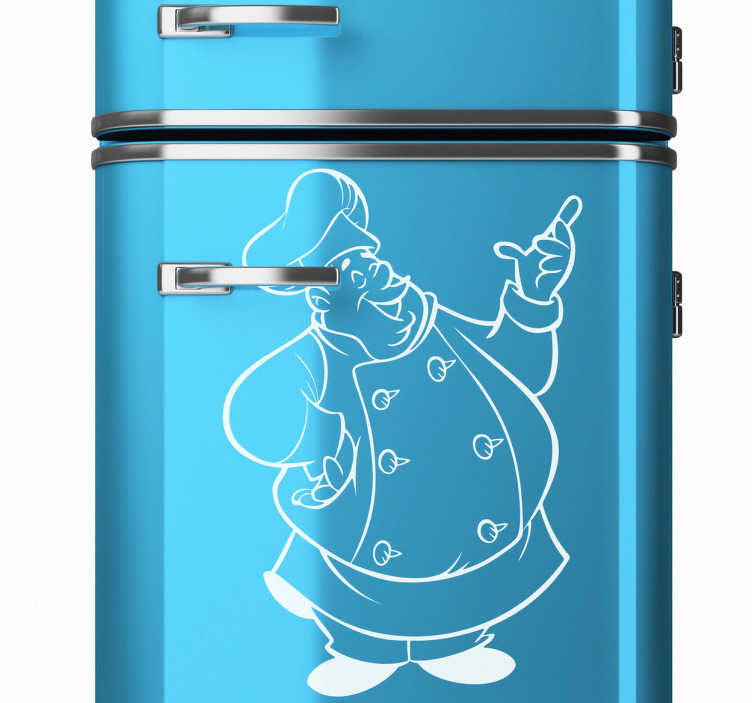TenStickers. Sticker chef corpulent. Un chef rondouillet qui semble apprécier ses bons petits plats sur un sticker original pour personnaliser votre cuisine de façon originale et humouristique.