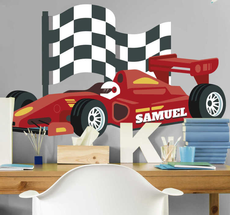 TenStickers. 24 Hours of Le Mans illustration wall art decal. Personalisable name racing car sticker with flag.  A design that represent 24 Hours of Le Mans. Buy it in the best size option for a desired space.