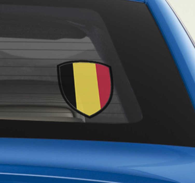 TenStickers. Sticker Tuning Écusson Belgique. Cet autocollant voiture représente un écusson au drapeau belge, pour montrer à tous vos voisins de la route que vous êtes fier de vos origines.