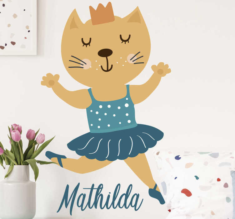TenStickers. Personalized ballerina cat sticker wall decor. Every child dreams of being a ballerina when they grow up. Why not decorate with this children's sticker. Personalizable with names!