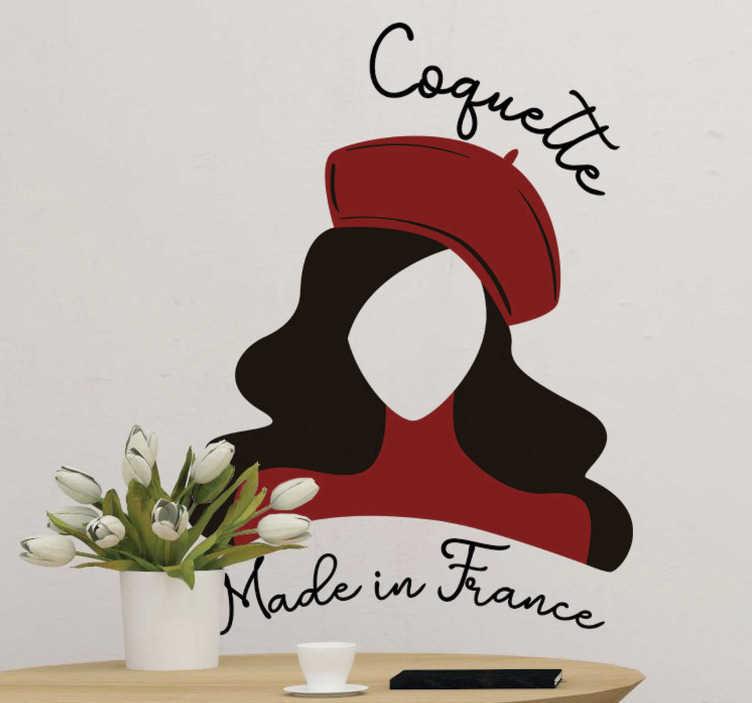 """TenStickers. Stickers Monde Coquette Made in France. Cet adhésif silhouette représente une silhouette de jeune femme habillée en rouge, accompagnée du texte """"coquette made in France""""."""