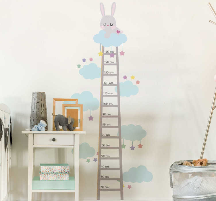 TenStickers. Rabbit  wall stickers for kids. Measure the heights of your growing kids with this adorably cute bunny height measure wall sticker. Order now for worldwide delivery!