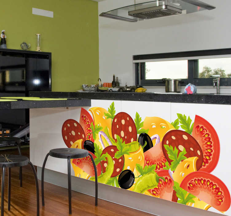 TenStickers. Food Collage Kitchen Sticker. Kitchen Wall Stickers - Colourful design of a salad with tomatoes, lettuce and cheese.