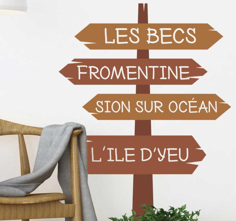 TenStickers. Sticker Maison Direction la plage. Cet autocollant monde représente divers panneaux signalétiques qui mènent vers différentes plages de la France. Promo Exclusives par email.