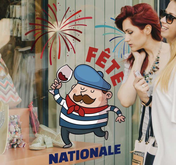 TenStickers. Autocollant Vitrophanie Fête Nationale. Cet autocollant événement représentant un français en train de marcher sous un feu d'artifice a été spécialement désigné pour le 14 Juillet.