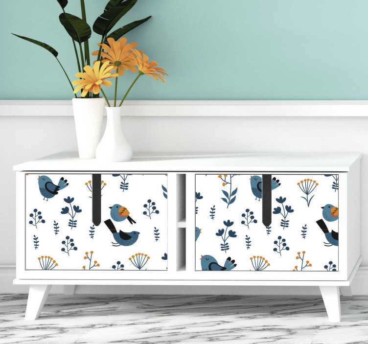 TenStickers. Leaves and birds furniture decal. Beautiful and colorful furniture sticker with the design of leaves and birds. Choose the best matching size for the surface to decorate.