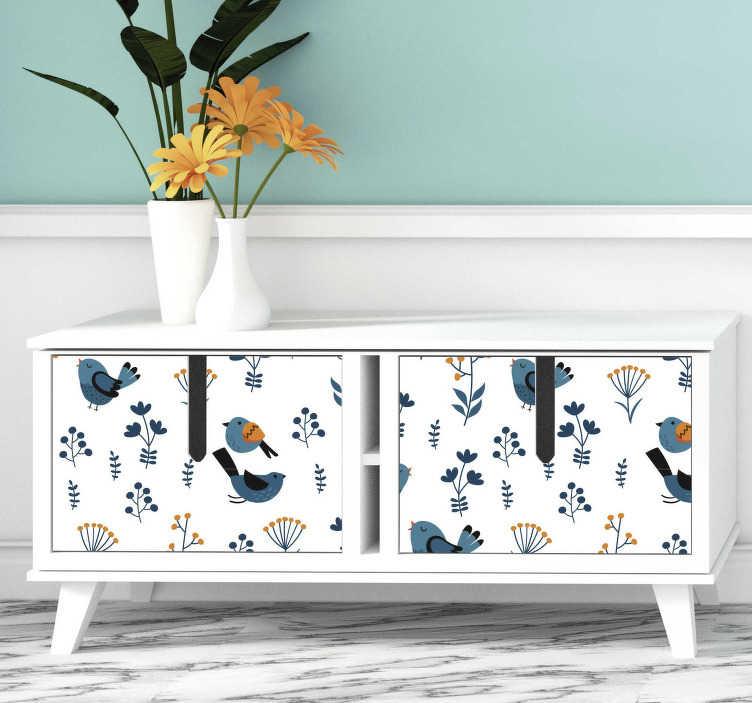 TenStickers. Sticker Oiseau feuilles et oiseaux. Ce sticker pour meuble représente plusieurs dessins d'oiseaux et de fleurs dans un style de dessin très vintage et coloré.