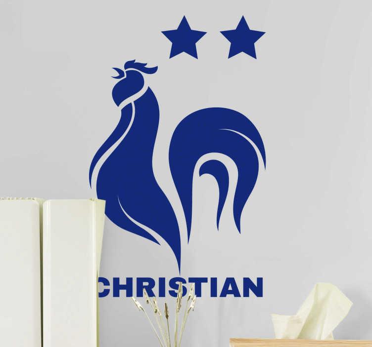 TenStickers. Sticker Sport Coq Français. Ce sticker sport personnalisé représente le célèbre emblème du coq français, accompagné de deux étoiles et du prénom de votre petit champion de foot.