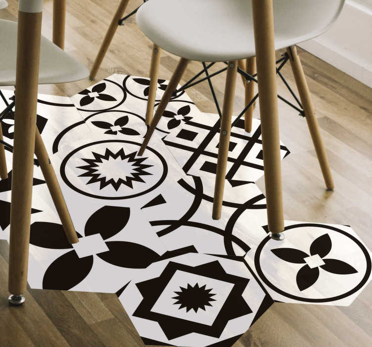 TenStickers. Black and white hexagons vinyl sticker floor tile. Decorative floor sticker made with the design of ornamental abstract geometry. Easy to apply and maintain. Available in different sizes.