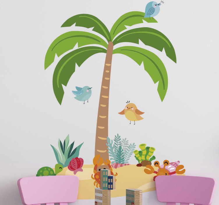 TenStickers. Muursticker boom palm tree and marine animals. Nice nursery palm tree sticker for the little ones! View here fun children's room tree wall decoration and surprise your children! Express shipping.