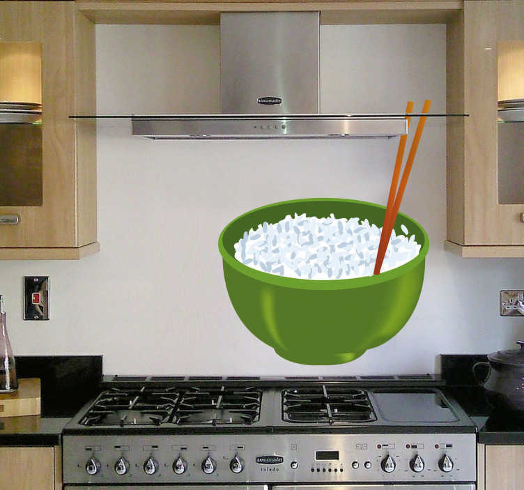 TenStickers. Rice Pot Oriental Food Wall Sticker. Kitchen Wall Stickers - Illustrations with a oriental chinese theme. A bowl of rice with chopsticks.