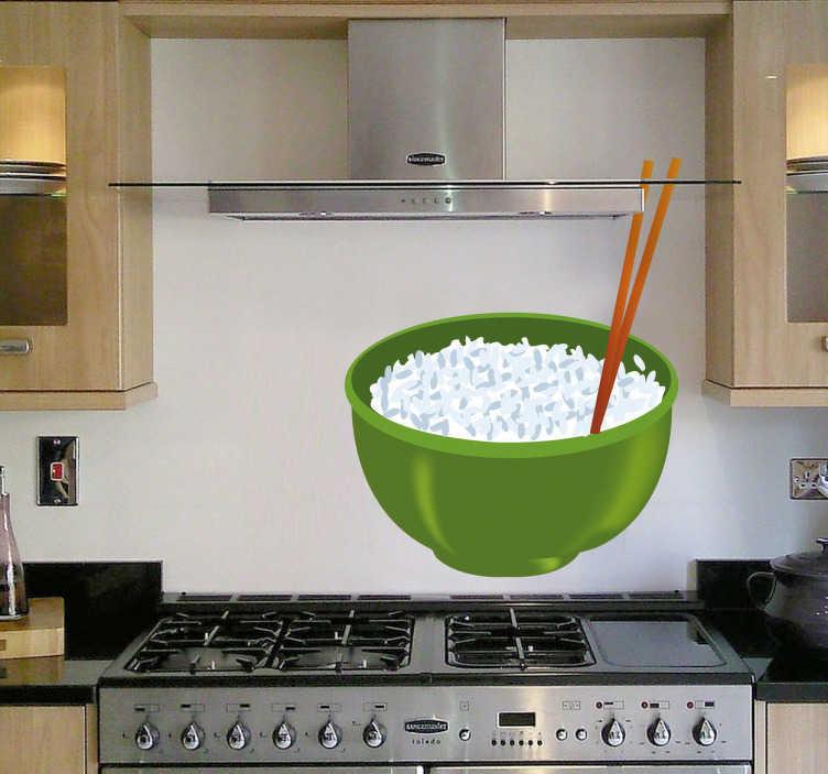 TenStickers. Naklejka miska z ryżem. Naklejka do kuchni inspirowana chińskimi daniami podawanymi głównie z ryżem. Naklejka dekoracyjna przedstawia zieloną miskę wypełnioną ryżem z specjalnymi pałeczkami.